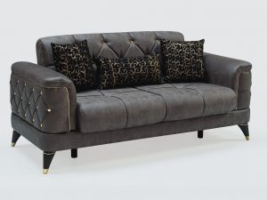 Melisa sofa bed 2 seaters Leather look fabric