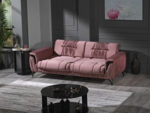 Safrano Pink 3 seaters sofa (Extendable)